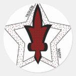 Estrellas dobles pegatinas redondas