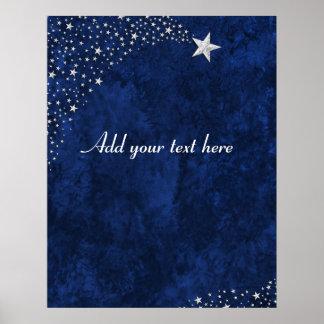 Estrellas el caer de plata azules póster