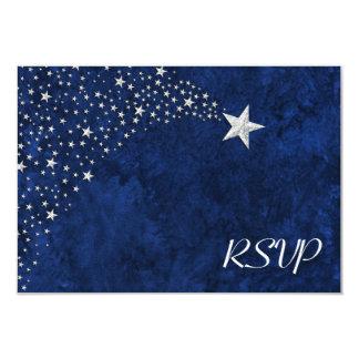 Estrellas el caer de plata RSVP Invitación 8,9 X 12,7 Cm