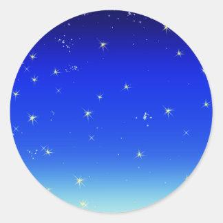 estrellas en azul pegatina redonda
