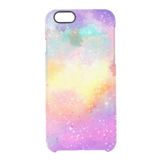 Estrellas en colores pastel pintadas a mano de la funda clear para iPhone 6/6S