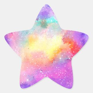 Estrellas en colores pastel pintadas a mano de la pegatina en forma de estrella