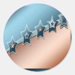 Estrellas en el cobre y el azul pegatina redonda