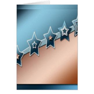 Estrellas en el cobre y el azul tarjeton