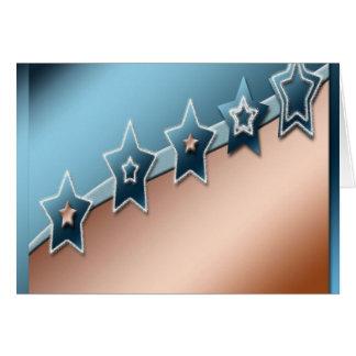 Estrellas en el cobre y el azul tarjetas