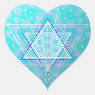 Estrellas en las estrellas pegatina en forma de corazón