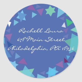 Estrellas en su sello del pegatina de Mitzvah del