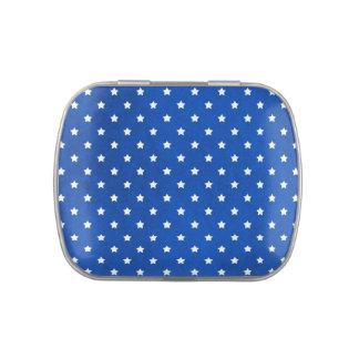 Estrellas en textura de la tela jarrones de caramelos