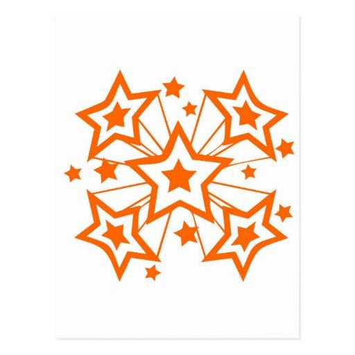Estrellas estupendas anaranjadas postal