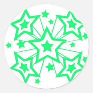 Estrellas estupendas verde etiquetas redondas