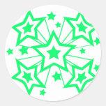 Estrellas estupendas (verde) pegatina redonda