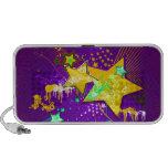 Estrellas florales púrpuras y amarillas y Splats d iPod Altavoz