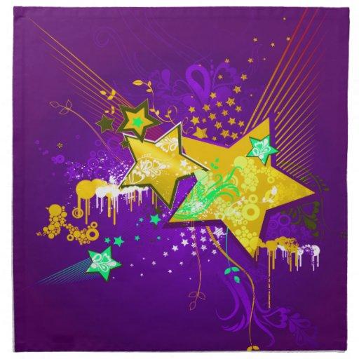 Estrellas florales púrpuras y amarillas y Splats Servilleta De Papel