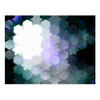 Estrellas geométricas y hexágonos de la púrpura postal
