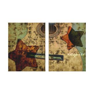 Estrellas inspiradas de la guitarra impresión en lienzo estirada