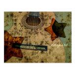 Estrellas inspiradas de la guitarra tarjeta postal