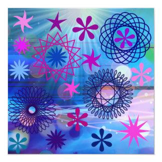 """Estrellas intrépidas coloridas y diseño enrrollado invitación 5.25"""" x 5.25"""""""