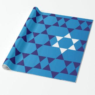 Estrellas judías azules gigantes papel de regalo