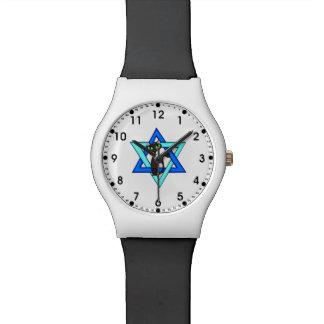 Estrellas judías del gato relojes de pulsera
