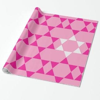 Estrellas judías rosadas gigantes papel de regalo