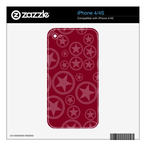 Estrellas ligeras de Borgoña en círculos en Borgoñ iPhone 4 Skins