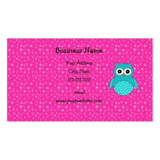 Estrellas lindas del rosa del búho de la turquesa tarjeta de visita
