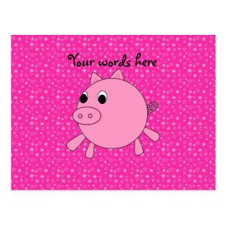 Estrellas lindas del rosa del cerdo postales