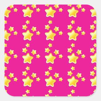 Estrellas lindas en modelo rosado calcomanía cuadradas personalizadas
