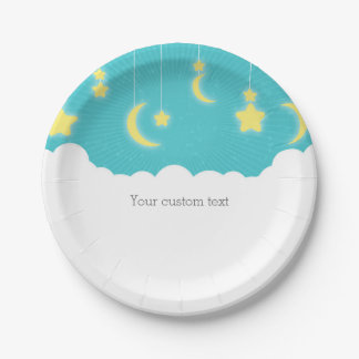 Estrellas luna y placas del fiesta de fiesta de plato de papel de 7 pulgadas