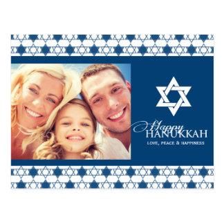Estrellas modernas azules de Jánuca de la foto del Tarjeta Postal
