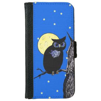 Estrellas negras de la luna del árbol del búho funda cartera para iPhone 6