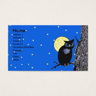 Estrellas negras de la luna del árbol del búho tarjetas de visita