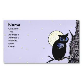 Estrellas negras de la luna del árbol del búho tarjetas de visita magnéticas (paquete de 25)