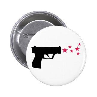 estrellas negras de la pistola de la estrella del  pin redondo de 2 pulgadas