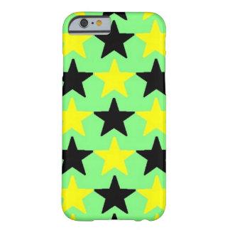 Estrellas negras y amarillas, caso del iPhone 6 Funda De iPhone 6 Barely There