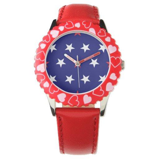 Estrellas patrióticas 2 reloj de mano
