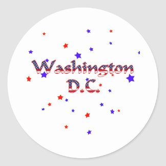 Estrellas patrióticas del Washington DC Etiqueta Redonda