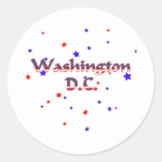 Estrellas patrióticas del Washington DC Pegatina Redonda