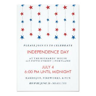 """Estrellas patrióticas en el fiesta del Día de la Invitación 5"""" X 7"""""""