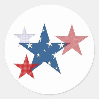 Estrellas patrióticas pegatina redonda