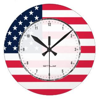 Estrellas patrióticas y bandera americana reloj redondo grande