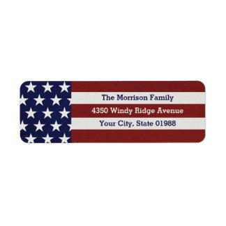 Estrellas patrióticas y rayas de la bandera etiqueta de remite