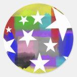 Estrellas pintadas pegatina redonda