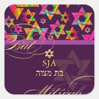 Estrellas psicodélicas palo Mitzvah de PixDezines Pegatinas Cuadradases Personalizadas