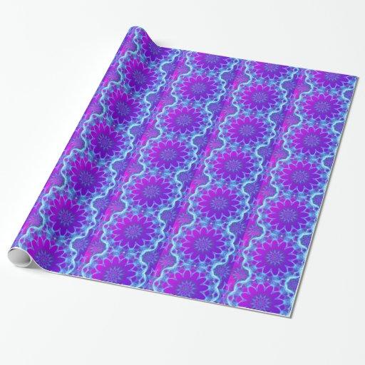 Estrellas psicodélicas, resplandor púrpura violeta papel de regalo