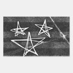 Estrellas punkyes rectangular pegatinas