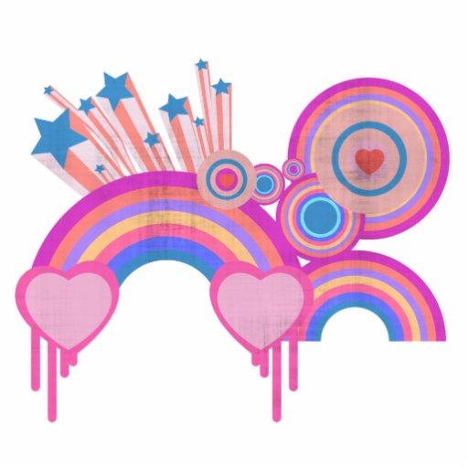 Estrellas punkyes rosadas y espirales del arco iri esculturas fotográficas