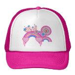 Estrellas punkyes rosadas y espirales del arco iri gorro