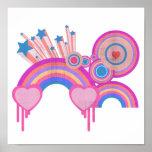 Estrellas punkyes rosadas y espirales del arco iri impresiones