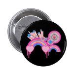 Estrellas punkyes rosadas y espirales del arco iri pin